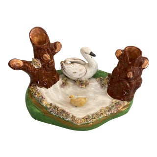 19th English Staffordshire Figurine of Swan & Her Chick in a Pond For Sale