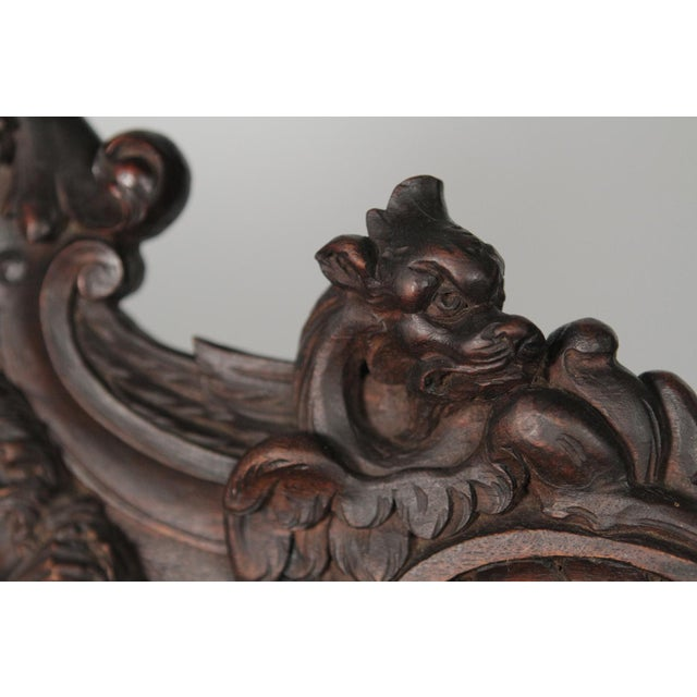 1890 Gothic Revival Heavily Carved Campaign Chair For Sale - Image 10 of 13