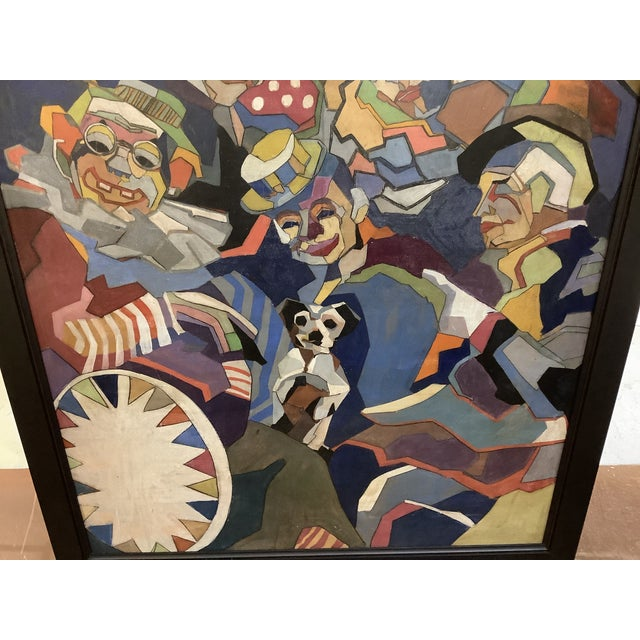 Midcentury Cubist Style / Folk Art Clown Painting For Sale - Image 10 of 12