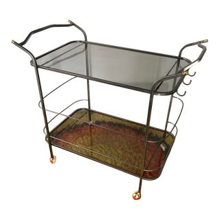 Vintage Metal Bar Cart W/Smoked Glass For Sale