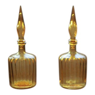 Blenko Mid Century Modern Flame Amber Glass Decanters - a Pair For Sale