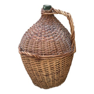 Vintage French Wrapped Demijohn For Sale