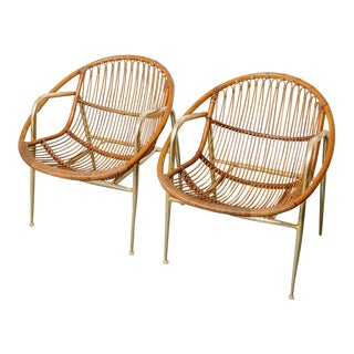 Vintage Pair of Rattan and Aluminum Armchairs For Sale
