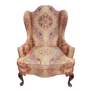 Vintage Baker Furniture Wing Back Chair For Sale