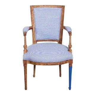 Bunakara Fingerprint Basic Stripe Arm Chair in Ultra Marine Blue For Sale