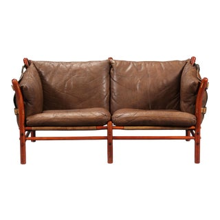 Rare Arne Norell Ilona Sofa in Brown Leather, Sweden, 1960s For Sale