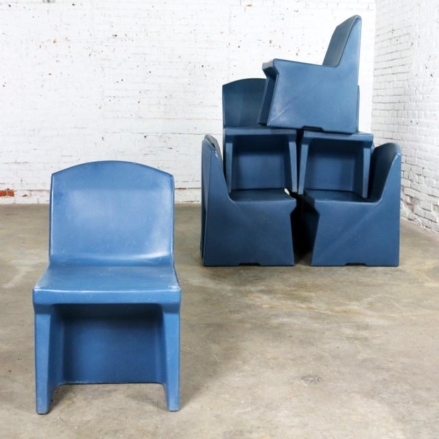 Blue Molded Plastic Side or Slipper Chairs by Norix Set of Eight For Sale - Image 4 of 13