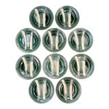 Image of C. 1890 French Creil Et Montereau Barbotine Majolica Porcelain Fluted Asparagus Plates - Set of 10 For Sale