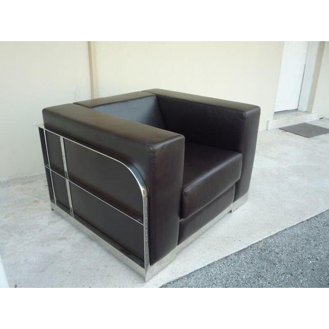 Modern 1990s Vintage Architectural Chrome & Leather Cube Chair For Sale - Image 3 of 9