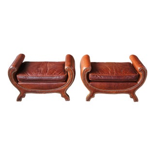 Late 20th Century 2 Century Furniture Duke of York Leather Studded Benches Ottoman Seat Lr-38071 - a Pair For Sale