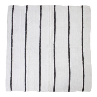 Vintage Turkish Wool and Hemp Rug in Creamy White With Brown Stripes For Sale