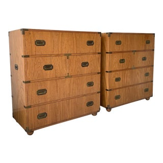 Mid 20th Century Vintage Baker Campaign Dressers - a Pair For Sale