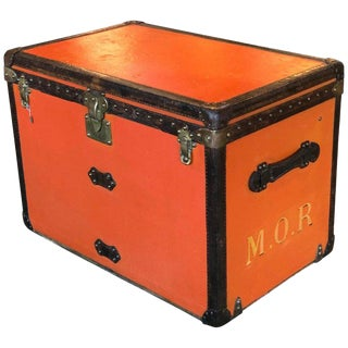 Rare Louis Vuitton Orange Trunk With Initials m.o.r, Circa 1930s For Sale