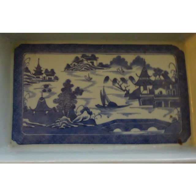 Ceramic Mid 19th Century Antique Rectangular Canton Bulb Bowl & Chinese Altar Fruit Figures- 4 Pieces For Sale - Image 7 of 9