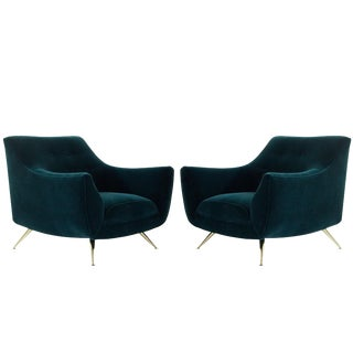Henry Glass Lounge Chairs in Dark Teal Mohair For Sale