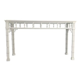20th Century Chinoiserie Faux Bamboo Console Table For Sale