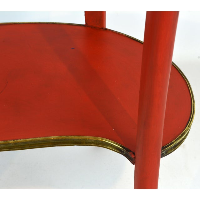 French Provincial Painted & Bronze-Mounted Kidney Shape Accent Table For Sale - Image 9 of 12