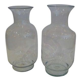 Large 70s Blenko Classic Urn Form Crystal Vases