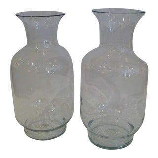Pair of Large 70s Blenko Classic Urn Form Crystal Vases For Sale