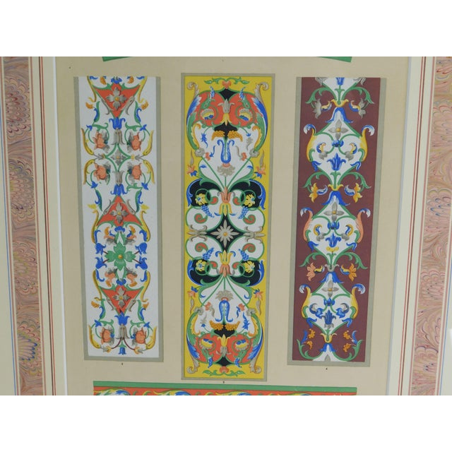 Gold Rococo Gilt Framed Pair of Prints Showing Samples of Decorative Wallpaper Borders For Sale - Image 8 of 13