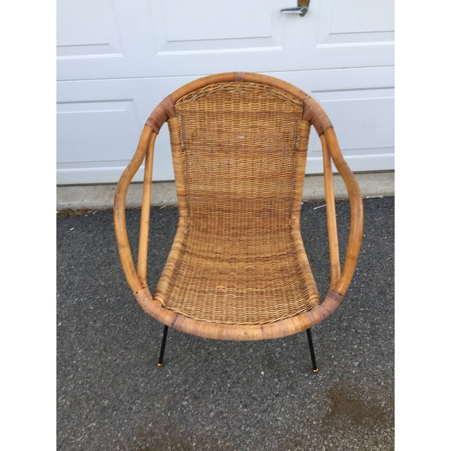 Calif-Asia Bamboo and Wicker Arm Chair For Sale - Image 11 of 12