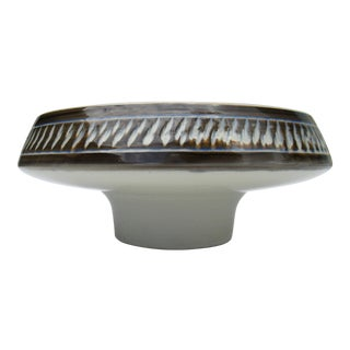 Mid-Century Ceramic Glazed Large Decorative Pedestal Center Bowl And/Or Tazza For Sale