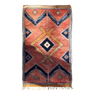1920s handmade antique Moroccan Berber rug 3.7' x 5.7' For Sale