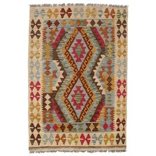 Afghan Kilim Handspun Wool Rug - 3′4″ × 4′10″ For Sale