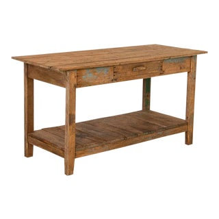 Antique Farm Work Table With Shelf For Sale