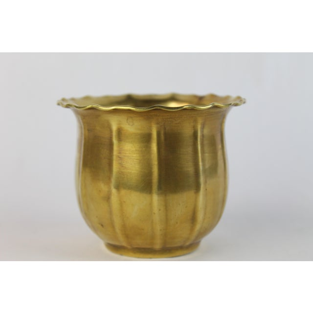 Scalloped Brass Bowl or Vase - Image 2 of 6