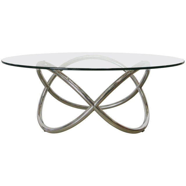 1960s Chrome and Glass Coffee Table For Sale - Image 5 of 5