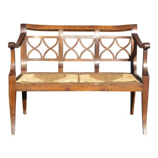 Vintage French Country Style Wood & Rush Seat Benchn Settee For Sale