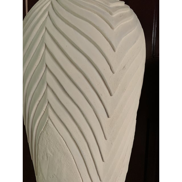 White Deco Carved Plaster Floor Lamps For Sale - Image 8 of 11