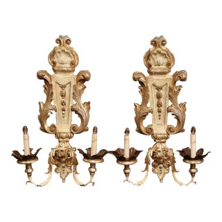 Pair of Italian Hand-Carved and Metal Polychrome Painted Two-Light Wall Sconces For Sale