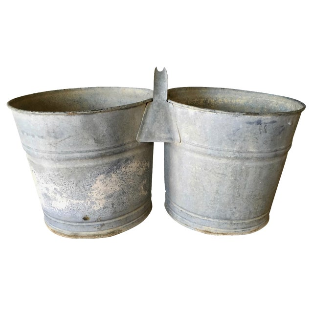 Vintage Galvanized Double Bucket - Image 1 of 11