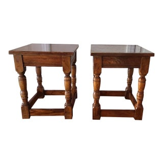 1970s English Oak Side Tables - a Pair For Sale