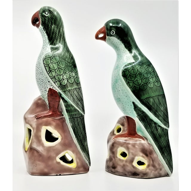 Asian Vintage Chinese Pair of Parrots Figurines - Porcelain Ceramic Glazed Tile Totem Green Bird Animal Tropical Coastal Palm Beach Boho Chic For Sale - Image 3 of 13
