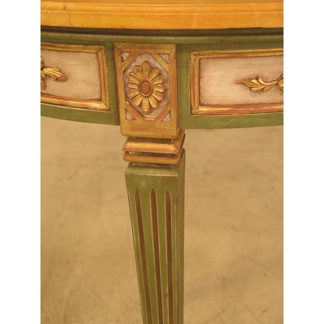 French Louis XVI Style Paint Decorated Console Table For Sale - Image 5 of 11