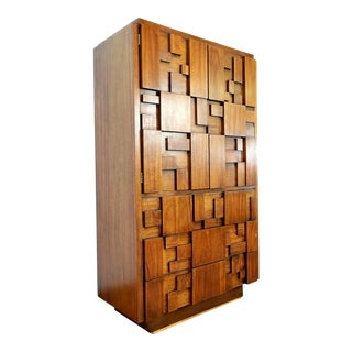 1960s Brutalist Lane Wood Armoire For Sale