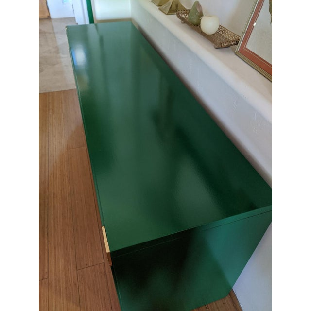 Wood 1970s Thomasville Campaign Gloss Green Dresser Credenza For Sale - Image 7 of 9
