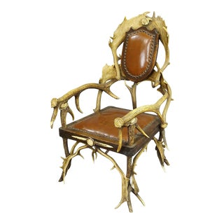 Antique Antler Easy Chair, 1900 For Sale