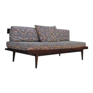 Vintage Sculpted Walnut Mid-Century Danish Modern Sofa Daybed After Pearsall For Sale