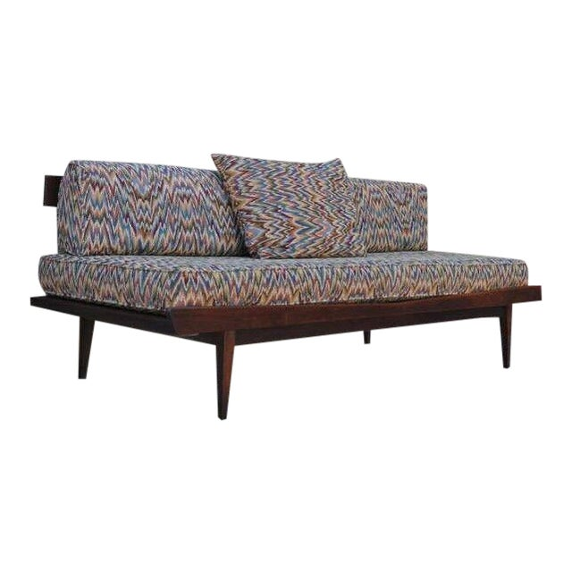 Vintage Sculpted Walnut Mid-Century Danish Modern Sofa Daybed After Pearsall