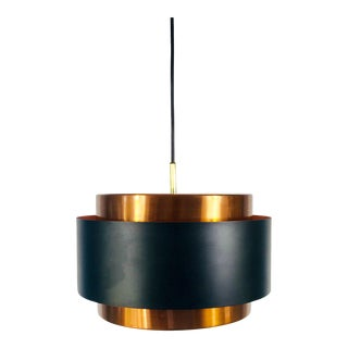 1960s Copper and Black Metal Pendant Lamp by Jo Hammerborg for Fog & Morup For Sale