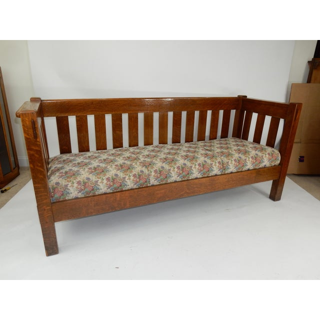 Antique Mission Oak Even arm Bench/ Couch by Lifetime. Superb quality, Mortise and Tenon construction. New Upholstery and...