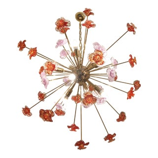 Murano Glass Triedo Sputnik Flower Chandelier For Sale