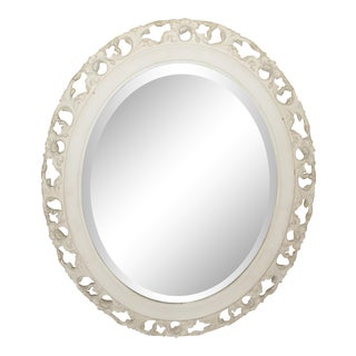 Vintage French Country White Painted Floral Design Oval Wall Mirror For Sale