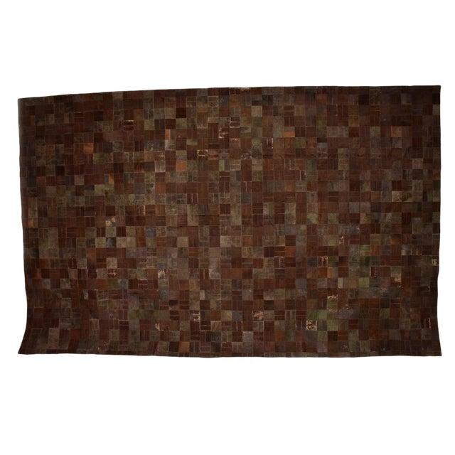 Brutalist Patchwork Cowhide Leather Rug- 8′3″ × 13′2″ For Sale