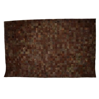 Mid-Century Modern Brutalist Patchwork Cowhide Leather Rug- 8′3″ × 13′2″ For Sale