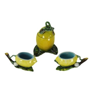 Menton French Majolica Barbotine Mustard Pot and Salt Cellars, Circa 1885 - 3 Pc. Set For Sale